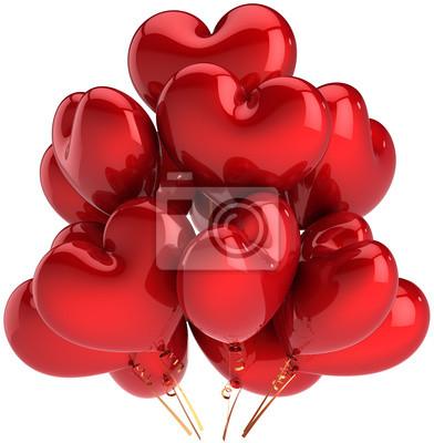 Globos de cumpleaños en forma de corazón rojo colorido. Decoración del Amor