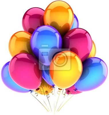 Globos de cumpleaños en un clásico de la decoración del partido multicolor montón