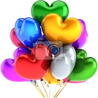 Globos de fiesta de cumpleaños en forma de corazón decoración multicolor