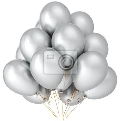 Globos de helio de color blanco. Decoración del partido de la boda (alta resolución)