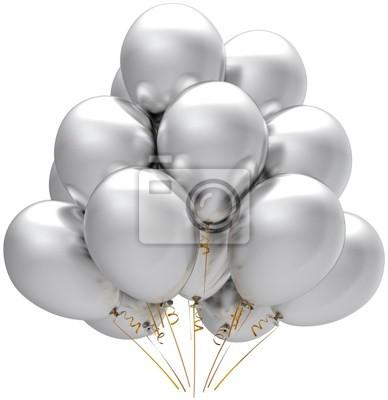 Globos de plata del partido. Modern vacaciones cumpleaños decoración blanca