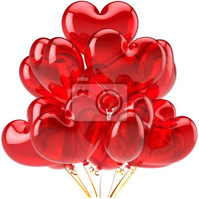 Globos del cumpleaños rojo translúcido decoración en forma de corazón