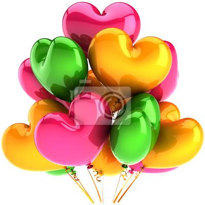 Globos del partido como decoración corazones cumpleaños rosa verde naranja