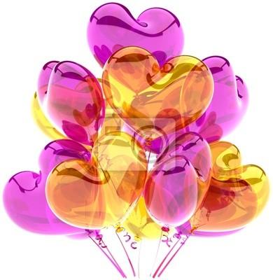 Globos del partido del feliz cumpleaños decoración en forma de corazón