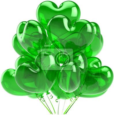 Globos del partido verde translúcido en forma de corazón decoración de vacaciones
