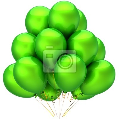 Globos verdes brillante y hermoso. Decoración del partido (alquileres)