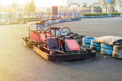 Cuadro Go-kart en el parque en la pista de karting