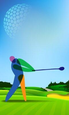 Cuadro Golfista en el campo de golf