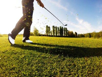 Cuadro Golfista realiza un tiro de golf desde el fairway.