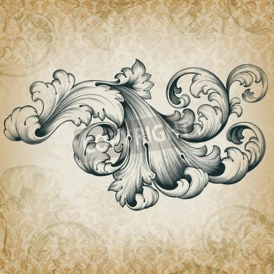 Cuadro grabado barroco elemento patrón de acanto diseño frameborder filigrana floral de la voluta de la vendimia en el fondo retro del damasco del grunge