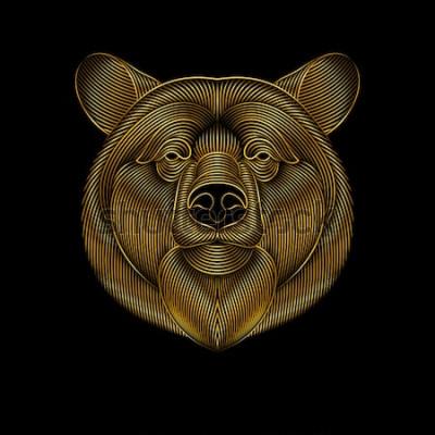 Cuadro Grabado de estilizado oso dorado sobre fondo negro. Dibujo lineal
