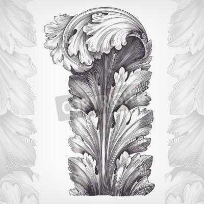 Cuadro grabado de la vendimia de acanto ornamento follaje con el modelo retro en estilo antiguo rococó diseño decorativo vector