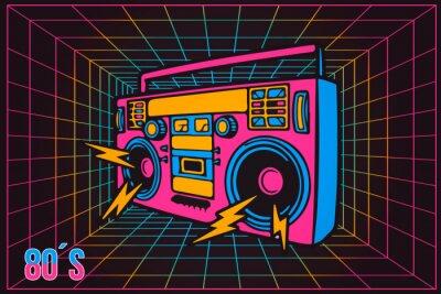 Cuadro Grabadora de fiesta retro Pop Party Eighties 80's, estilo neón de dibujos animados