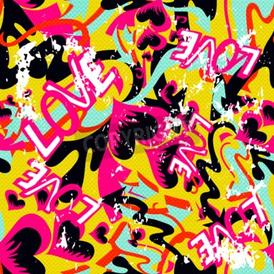 Cuadro Graffiti Día de San Valentín sin fisuras textura grunge
