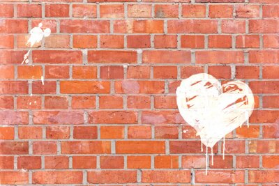 Cuadro Graffiti-Herz auf eine del Mauer gerendert mit Platz für texto