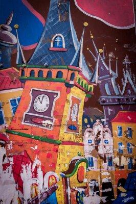 Cuadro Graffiti maison aux couleurs vives