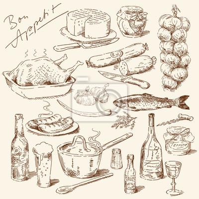gran colección de los alimentos dibujados a mano
