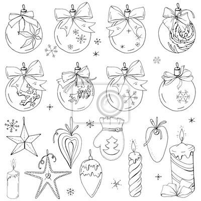 Cuadro: Gran conjunto con decoración vintage de navidad  bolas festivas