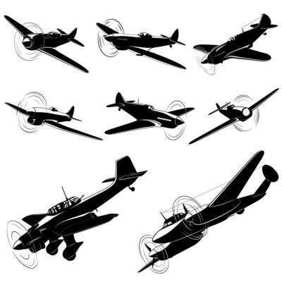 Cuadro Gran conjunto de siluetas de vector de viejos combatientes