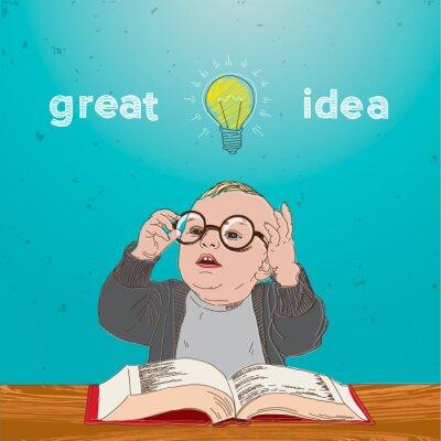 Cuadro Gran idea, chico con el libro y la bombilla encima de la cabeza