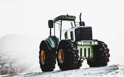 Cuadro Gran tractor verde resistente en una montaña