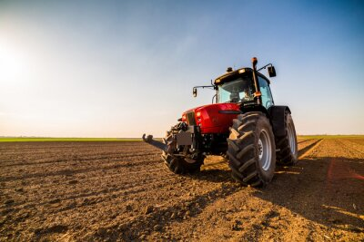 Cuadro Granjero fertilizando tierra cultivable con nitrógeno, fósforo, fertilizante de potasio