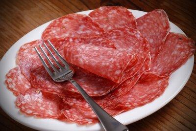 Cuadro grasa salame di italiano sul piatto