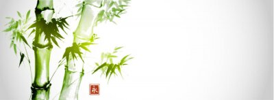 Cuadro Green bamboo trees on white background. Traditional Japanese ink wash painting sumi-e.  Hieroglyph- eternity