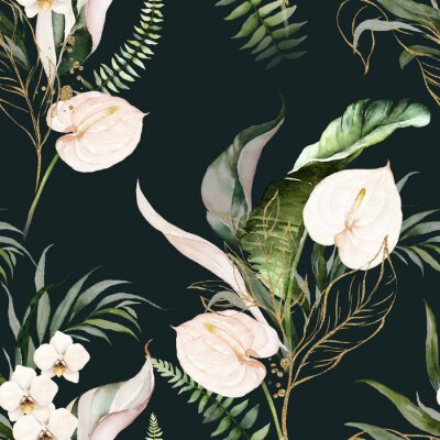 Cuadro Green tropical leaves and blush flowers on dark background. Watercolor hand painted seamless pattern. Floral tropic illustration. Jungle foliage.