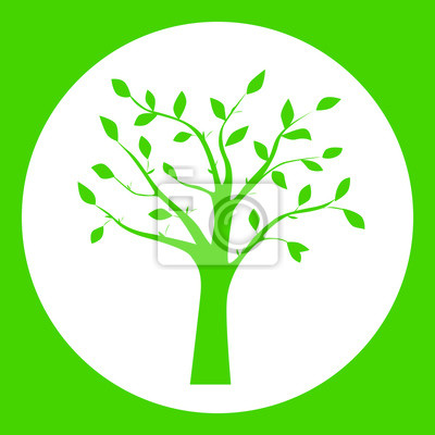 Green vector illustration of tree silhouette in the round frame ...