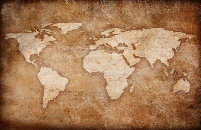 Cuadro grunge mapa del mundo de fondo