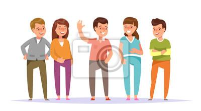 Grupo De Ilustración Vectorial Sonriente Jóvenes Amigos De Pie