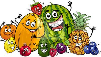 grupo de las frutas divertidas de dibujos animados pinturas para la