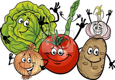 Grupo De Las Verduras De Dibujos Animados Pinturas Para La