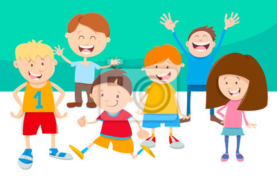 Grupo De Personajes Cómicos De Dibujos Animados Niños Pinturas Para