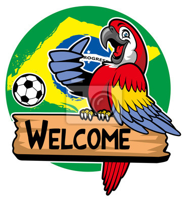 2b39055c3b069 Guacamayo saludo pájaro con bandera de brasil como fondo pinturas ...