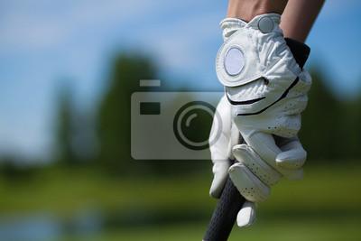 Cuadro Guantes de jugador de golf tienen el hierro o putter