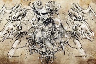 Guerrero Con Dragones Dibujo Tatuaje Diseño Hecho A Mano Sobre