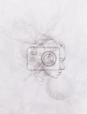 Guerrero indio del nativo americano joven, dibujo del perfil ...