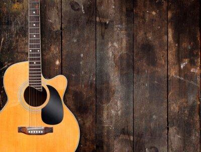 Cuadro Guitarra acústica en el fondo rústico