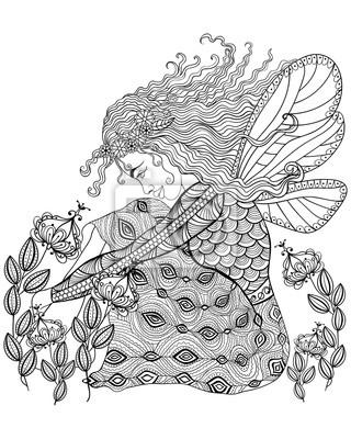 Hada del bosque con las alas en la flor para adultos antiestrés ...