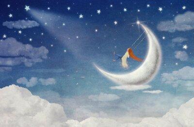 Cuadro Hada montando en un oscilación en la luna en el cielo