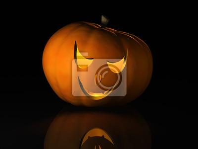 Halloween pumpkin on a black reflective surface