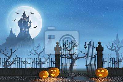 Halloween pumpkins next to a gate of a spooky castle