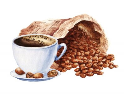 Cuadro Hand drawn watercolor cup of black coffee with sack of beans isolated on white background. Food illustration.