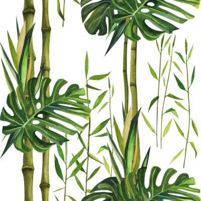 Cuadro Hand drawn watercolor pattern with bamboo leaves. Seamless patterns