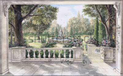Cuadro Hand drawn watercolor sketch with landscape and fountain. The view from the terrace on garden with trees, flowers and fountain. View from the balcony on the garden.
