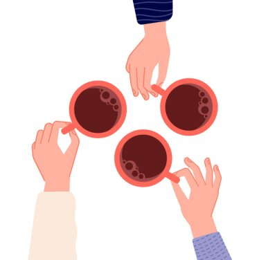 Cuadro Hands holding cups. Coffee, tea in woman hand. Isolated mugs with hot drinks in cafe. Friends meeting or morning time vector illustration. Hot cup of coffee drink, hand with mug