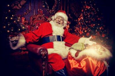 happy Santa with small Christmas tree