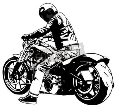 Cuadro Harley Davidson and Rider - Ilustración en blanco y negro, Vector